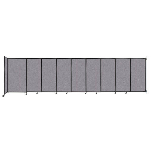 """Wall-Mounted StraightWall Sliding Partition 19'9"""" x 5' Cloud Gray Fabric"""