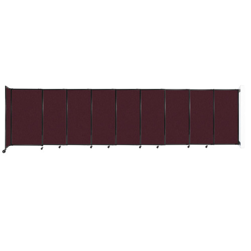 """Wall-Mounted StraightWall Sliding Partition 19'9"""" x 5' Cranberry Fabric"""