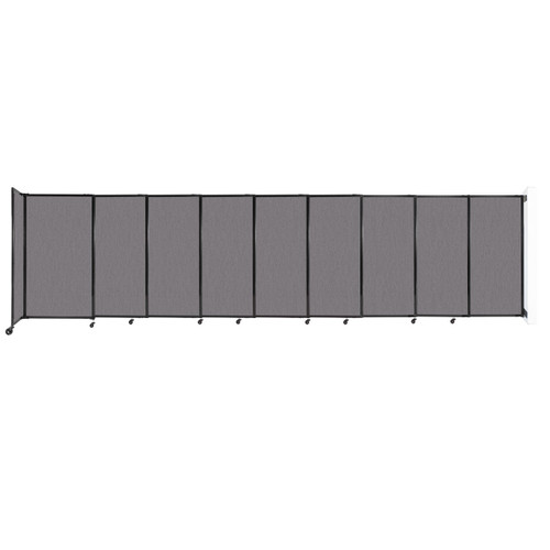 """Wall-Mounted StraightWall Sliding Partition 19'9"""" x 5' Slate Fabric"""