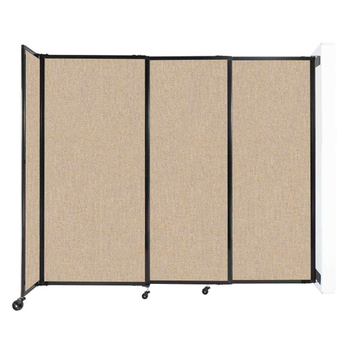 """Wall-Mounted StraightWall Sliding Partition 7'2"""" x 6' Beige Fabric"""