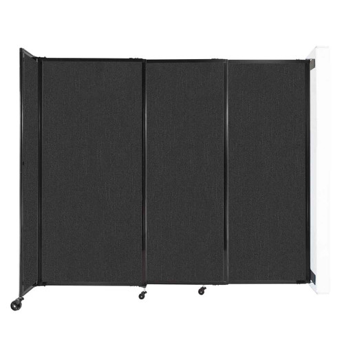 """Wall-Mounted StraightWall Sliding Partition 7'2"""" x 6' Black Fabric"""