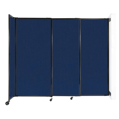 """Wall-Mounted StraightWall Sliding Partition 7'2"""" x 6' Navy Blue Fabric"""