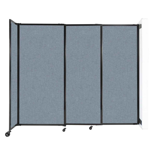 """Wall-Mounted StraightWall Sliding Partition 7'2"""" x 6' Powder Blue Fabric"""
