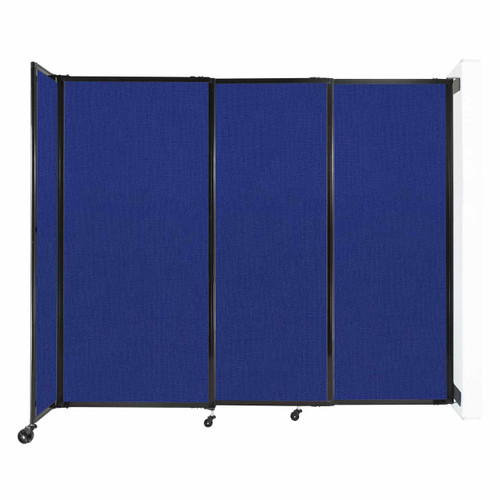 """Wall-Mounted StraightWall Sliding Partition 7'2"""" x 6' Royal Blue Fabric"""