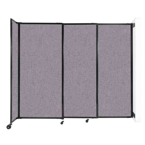 """Wall-Mounted StraightWall Sliding Partition 7'2"""" x 6' Cloud Gray Fabric"""