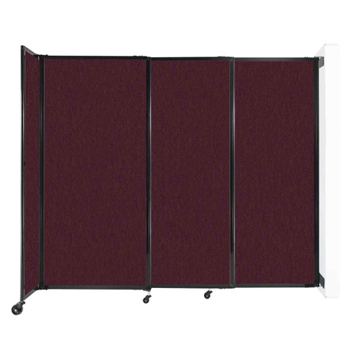 """Wall-Mounted StraightWall Sliding Partition 7'2"""" x 6' Cranberry Fabric"""