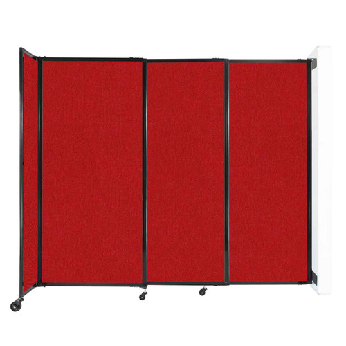"""Wall-Mounted StraightWall Sliding Partition 7'2"""" x 6' Red Fabric"""