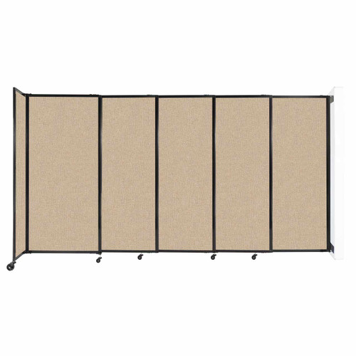 """Wall-Mounted StraightWall Sliding Partition 11'3"""" x 6' Beige Fabric"""