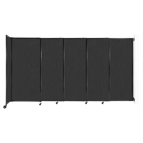 """Wall-Mounted StraightWall Sliding Partition 11'3"""" x 6' Black Fabric"""