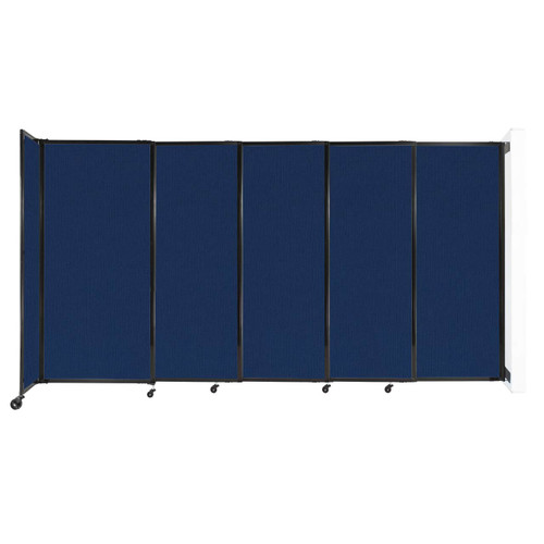 """Wall-Mounted StraightWall Sliding Partition 11'3"""" x 6' Navy Blue Fabric"""