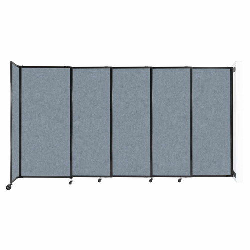 """Wall-Mounted StraightWall Sliding Partition 11'3"""" x 6' Powder Blue Fabric"""