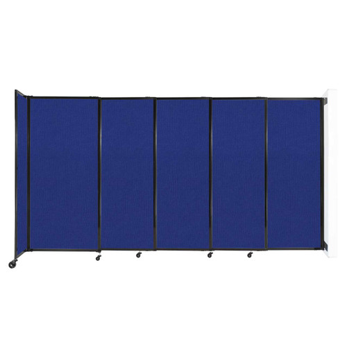 """Wall-Mounted StraightWall Sliding Partition 11'3"""" x 6' Royal Blue Fabric"""