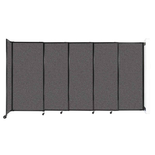 """Wall-Mounted StraightWall Sliding Partition 11'3"""" x 6' Charcoal Gray Fabric"""