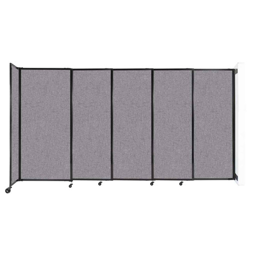 """Wall-Mounted StraightWall Sliding Partition 11'3"""" x 6' Cloud Gray Fabric"""