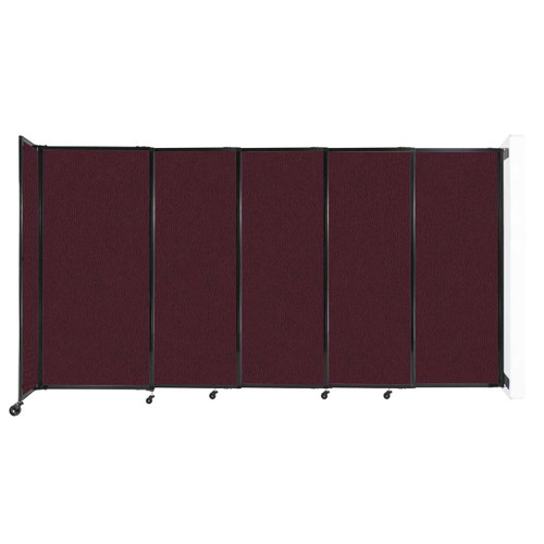 """Wall-Mounted StraightWall Sliding Partition 11'3"""" x 6' Cranberry Fabric"""