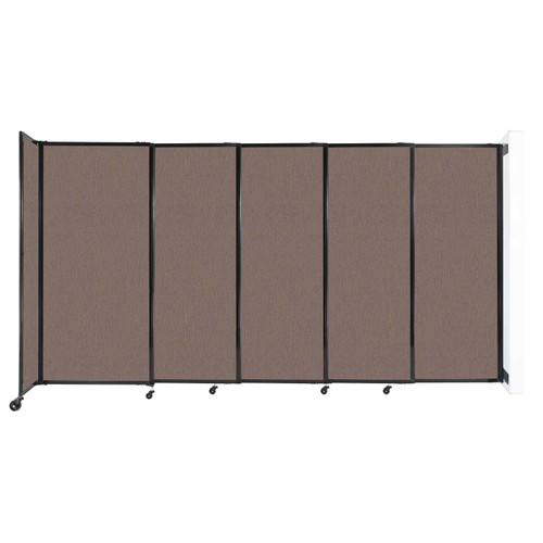 """Wall-Mounted StraightWall Sliding Partition 11'3"""" x 6' Latte Fabric"""