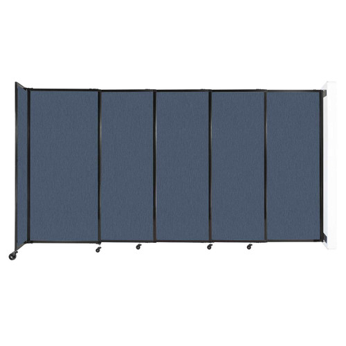 """Wall-Mounted StraightWall Sliding Partition 11'3"""" x 6' Ocean Fabric"""