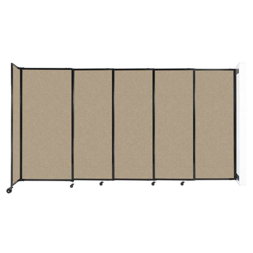 """Wall-Mounted StraightWall Sliding Partition 11'3"""" x 6' Rye Fabric"""
