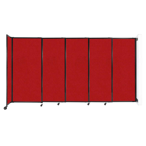 """Wall-Mounted StraightWall Sliding Partition 11'3"""" x 6' Red Fabric"""