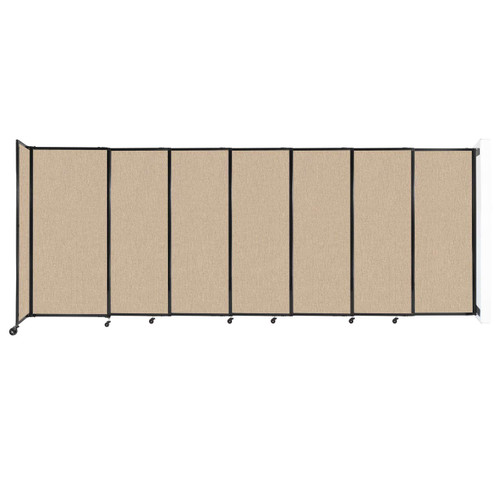 """Wall-Mounted StraightWall Sliding Partition 15'6"""" x 6' Beige Fabric"""