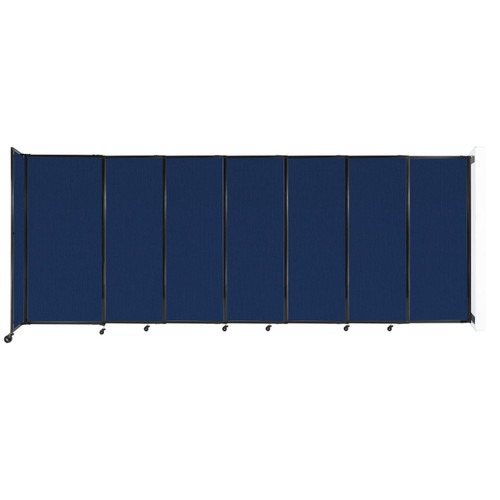 """Wall-Mounted StraightWall Sliding Partition 15'6"""" x 6' Navy Blue Fabric"""