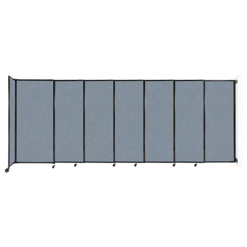 """Wall-Mounted StraightWall Sliding Partition 15'6"""" x 6' Powder Blue Fabric"""