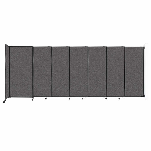 """Wall-Mounted StraightWall Sliding Partition 15'6"""" x 6' Charcoal Gray Fabric"""