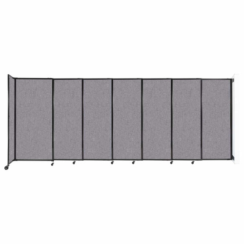 """Wall-Mounted StraightWall Sliding Partition 15'6"""" x 6' Cloud Gray Fabric"""