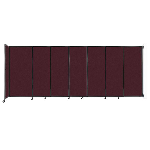 """Wall-Mounted StraightWall Sliding Partition 15'6"""" x 6' Cranberry Fabric"""