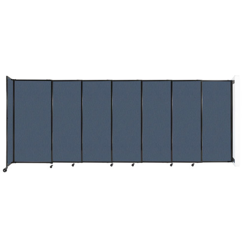 """Wall-Mounted StraightWall Sliding Partition 15'6"""" x 6' Ocean Fabric"""
