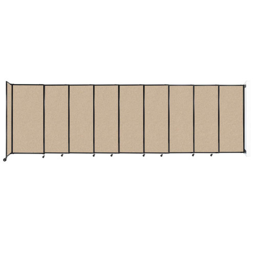 """Wall-Mounted StraightWall Sliding Partition 19'9"""" x 6' Beige Fabric"""