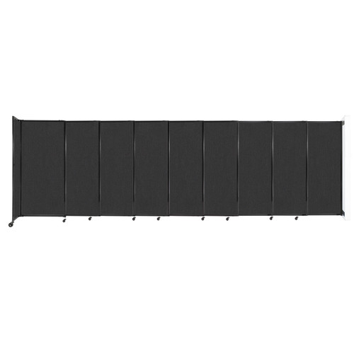 """Wall-Mounted StraightWall Sliding Partition 19'9"""" x 6' Black Fabric"""