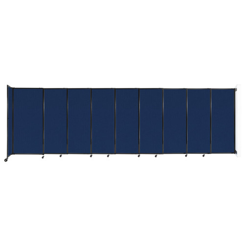 """Wall-Mounted StraightWall Sliding Partition 19'9"""" x 6' Navy Blue Fabric"""
