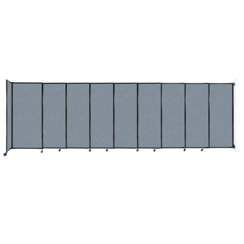 """Wall-Mounted StraightWall Sliding Partition 19'9"""" x 6' Powder Blue Fabric"""