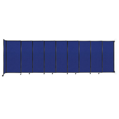"""Wall-Mounted StraightWall Sliding Partition 19'9"""" x 6' Royal Blue Fabric"""