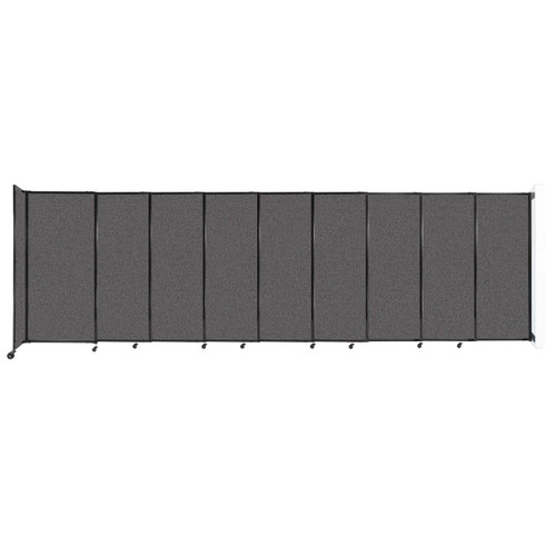 """Wall-Mounted StraightWall Sliding Partition 19'9"""" x 6' Charcoal Gray Fabric"""