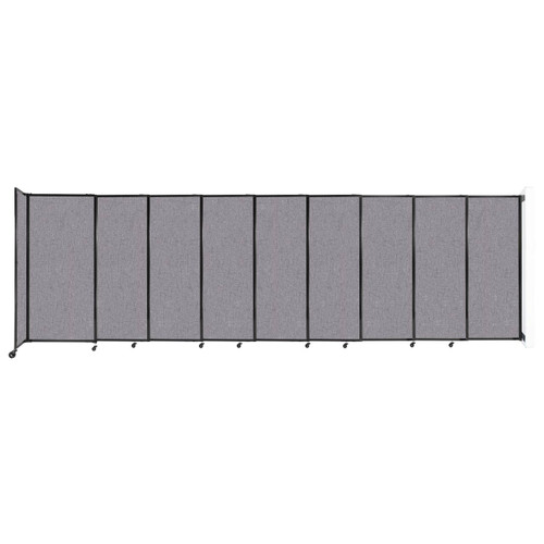 """Wall-Mounted StraightWall Sliding Partition 19'9"""" x 6' Cloud Gray Fabric"""