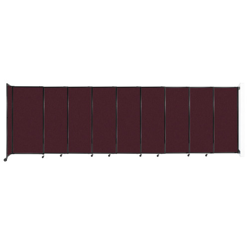 """Wall-Mounted StraightWall Sliding Partition 19'9"""" x 6' Cranberry Fabric"""