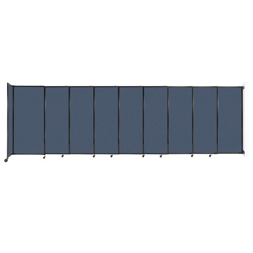 """Wall-Mounted StraightWall Sliding Partition 19'9"""" x 6' Ocean Fabric"""