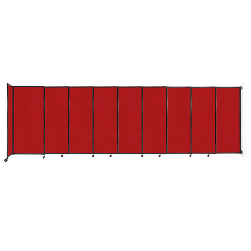 """Wall-Mounted StraightWall Sliding Partition 19'9"""" x 6' Red Fabric"""