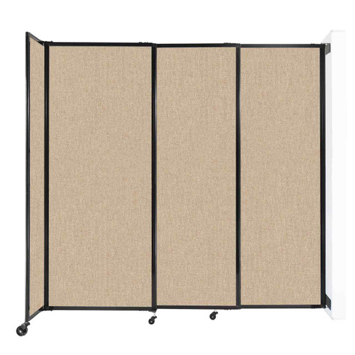 """Wall-Mounted StraightWall Sliding Partition 7'2"""" x 6'10"""" Beige Fabric"""