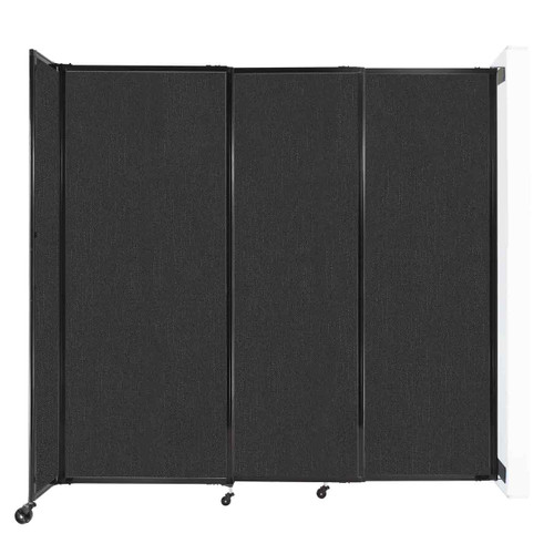 """Wall-Mounted StraightWall Sliding Partition 7'2"""" x 6'10"""" Black Fabric"""