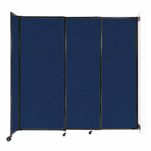 """Wall-Mounted StraightWall Sliding Partition 7'2"""" x 6'10"""" Navy Blue Fabric"""