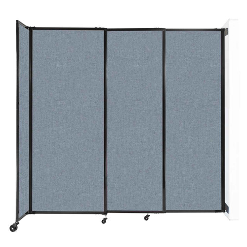 """Wall-Mounted StraightWall Sliding Partition 7'2"""" x 6'10"""" Powder Blue Fabric"""