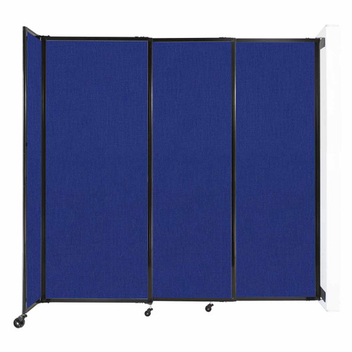 """Wall-Mounted StraightWall Sliding Partition 7'2"""" x 6'10"""" Royal Blue Fabric"""