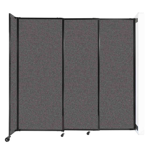 """Wall-Mounted StraightWall Sliding Partition 7'2"""" x 6'10"""" Charcoal Gray Fabric"""
