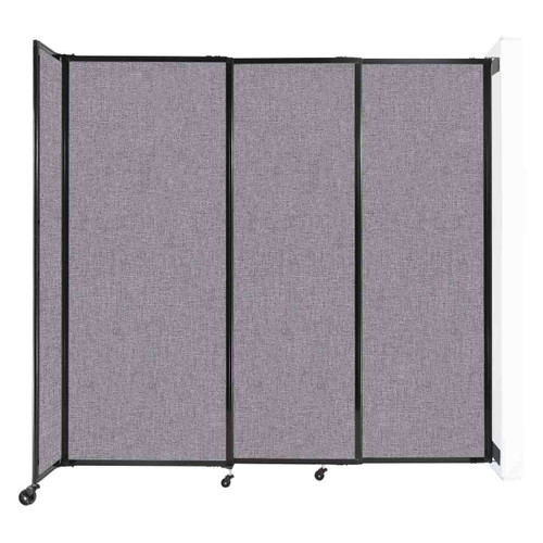 """Wall-Mounted StraightWall Sliding Partition 7'2"""" x 6'10"""" Cloud Gray Fabric"""