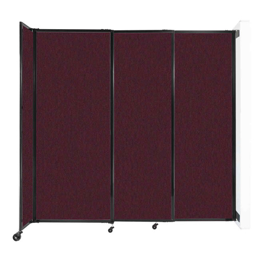 """Wall-Mounted StraightWall Sliding Partition 7'2"""" x 6'10"""" Cranberry Fabric"""