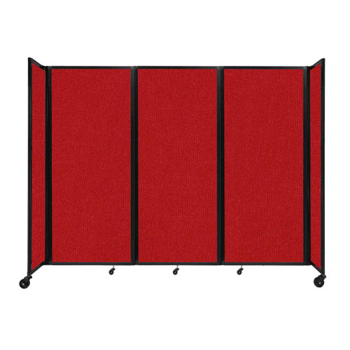 """Room Divider 360 Folding Portable Partition 8'6"""" x 6'10"""" Red Fabric"""