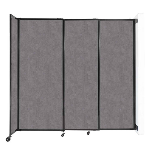 """Wall-Mounted StraightWall Sliding Partition 7'2"""" x 6'10"""" Slate Fabric"""
